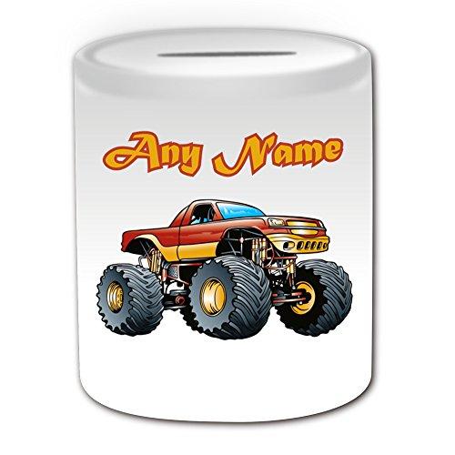 Personalisiertes Geschenk-Rot Monster Truck Spardose (Design Thema, weiß)-Für jede Nachricht/Name auf Ihrem Unique-Große Räder Race Car Crush Freestyle Wettbewerbsfahrzeug Automarke Treiber -