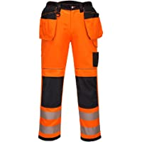 Portwest PW3 Hi-Vis Holster Work Trouser, Trouser Length: Short, Color: Orange/Black, Size: 28, T501OBS28