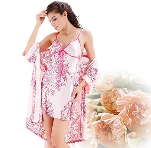 LJ&L Frau Frühling und Sommer Seide Trainingsanzug sexy Nachthemd und Robebademäntel zweiteiliges Kleid,pink,M Pink
