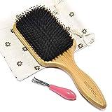 Brosse à cheveux de soies de sanglier et bambou large Antistatique Confortable et durable Massage Avec coussinet (carré)
