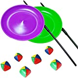 kits de malabares dos placas giratorias con palos de plástico y 2 juegos de 3 bolas de malabares