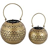 Royal Makers Iron Tealight Candle Holders (Golden, Set Of 2)