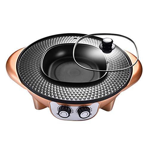 YJIUJIU Parrilla BBQ Eléctrica Thai, Barbacoa y Hot Pot Olla Caliente Sartén...