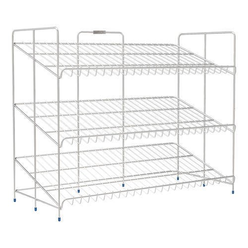 Floraware-Saffron 3-Tier Shoe Rack Organizer Wired Cabinet, Metal-Chrome  available at amazon for Rs.2345