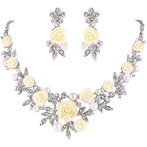 Ever Faith® silver-tone cristallo simulato perla giallo rosa fiore foglia Collana Orecchini Set trasparente - Strass Floreali Collana Orecchini