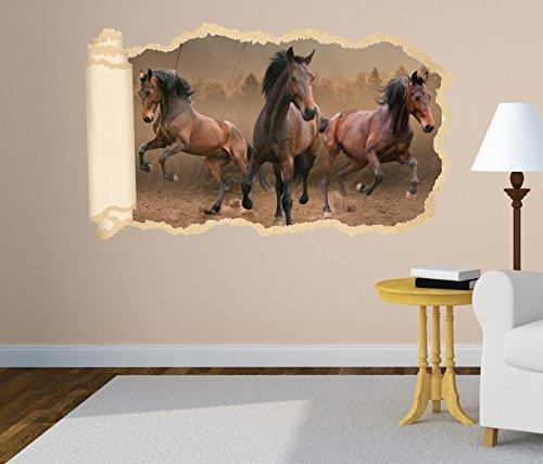 3D Wandtattoo Pferde wild Herde Mustang braun Tapete Wand Aufkleber Wanddurchbruch Deko Wandbild Wandsticker 11N1298, Wandbild Größe F:ca. 97cmx57cm