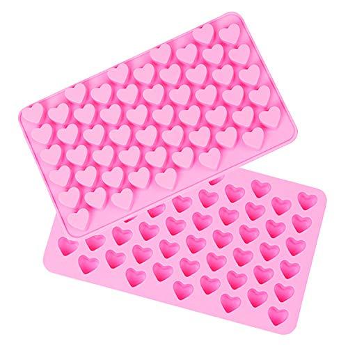JUZHEN Home 55 Hohlraum Silikon Mini Herzform für Eiswürfel Schokolade Jelly Candy Muffins Valentine Schokolade DIY Seife (2 Stück)