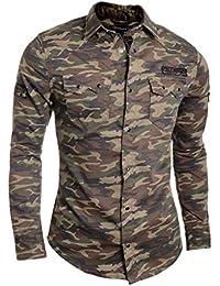 D&R Fashion Cipo & Baxx Men's Casual Shirt Camo Pattern Military Style Patches Cotton Slim