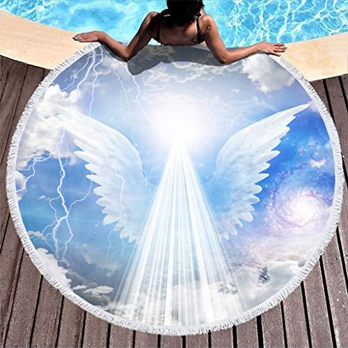 Magisch Rein Engel Flügel Sonnenlicht Galaxis Fantasie Druck Runde Strandtüch mit Quasten Schön Flügel Wolken Blitz Kunstwerk Stranddecke Franse Strandtüch Roundie white 150cm -