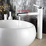 Decorry Waschtischmischer Tap 360 Grad drehen Typ Bassin-Hahn-Weiß und Silber Chrom-Finish Badarmaturen Einhand-Badezimmer, B