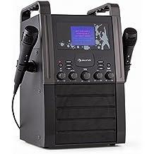 auna KA8B-V2 BK equipo de karaoke portátil (reproductor CD, dos micrófonos, pantalla TFT 3,5 pulgadas) - negro