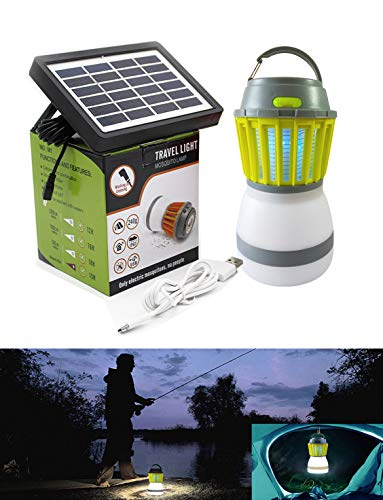 Bug Zapper UV LED Waterproof Mosquito Killer, Camping Lamp, USB Solar Panel Rechargeable, Mosquito Killer Trap, Tent Light, Outdoor Camping, Hiking, Fishing (Power Stinger Batterie)