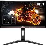 """AOC C24G1 - Monitor Gaming Curvo de 24"""" con Pantalla Full HD (VA, 1ms, AMD FreeSync, 144Hz, Sin Marco, Ajustable en altura y FlickerFree), Color Negro/Rojo"""