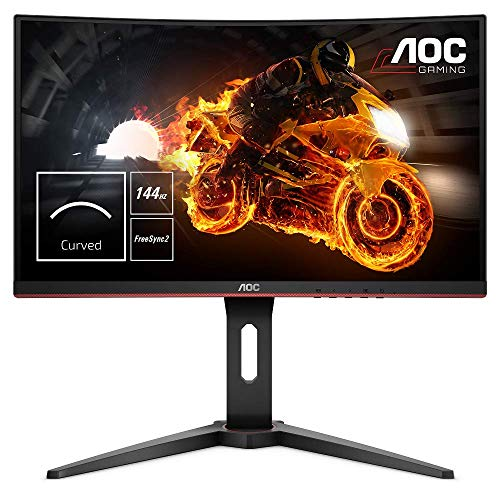 AOC C24G1 - Monitor Gaming Curvo de 24' con Pantalla Full HD e-Sports (VA, 1ms, AMD FreeSync, 144Hz, Sin Marco, Ajustable en altura y FlickerFree), Color Negro/Rojo