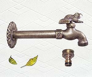 Crapaud en laiton massif (Décoration de jardin Grenouille-Wingenroth Robinet d'extérieur en laiton avec un connecteur