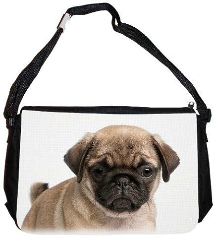 Schultertasche Messenger Bag Tragetasche Umhängetasche - Motiv: Mops Junghund Porträt - 08