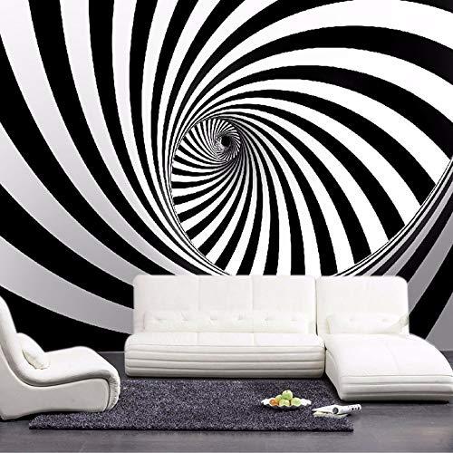 Abihua Wandbilder Benutzerdefinierte Abstrakte Künstlerische Wandbild Tapete Schwarz Und Weiß Swirl Linie Wohnzimmer Stroh Wandpapier Für Wände 250Cm X 160Cm -