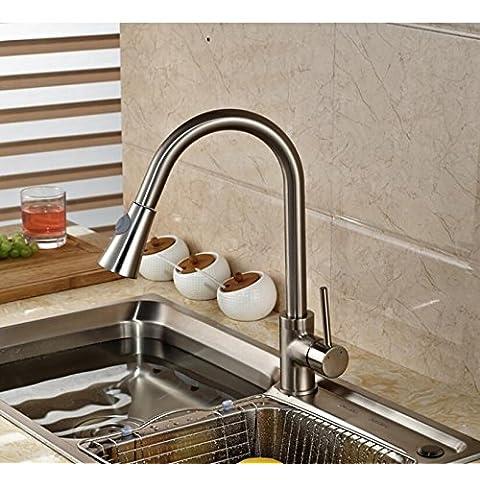 Fx@ Qualsiasi forma allungata del becco Deck montato in acciaio inox nichel spazzolato rubinetto girevole Miscelatore da