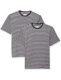 Amazon Essentials Loose-fit Short-Sleeve Stripe Crewneck T-Shirts Hombre