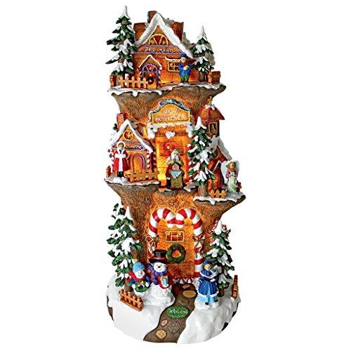 Design Toscano EU9289 Weihnachtsdorf, Sankt Werkstatt am Nordpol Beleuchtet Weihnachtsbeleuchtung Statue, 25,4 x 24,1 x 53,3 cm
