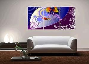 Art-Grand citronnier en peinture d'Art abstrait sur toile encadrée sans Modern Home Decor Wall Art Lot de 3 chaque 40 x 60 cm, #cy - 262