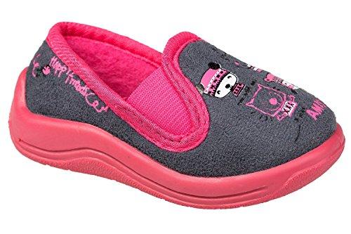 GIBRA® Hausschuhe für Kinder, grau/pink, Gr. 19-27 Grau/Pink