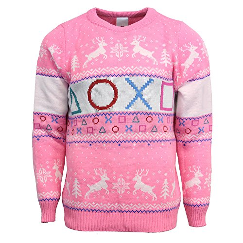 Playstation Official Pink Christmas Jumper / Sweater - X Large