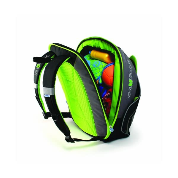 Trunki BoostApak - Travel Backpack & Child Car Booster Seat for Group 2-3 (Green)  QUICKLY TRANSFORMS – Kid's bag to portable booster cushion in seconds (featuring internal hard shell and fold out seatbelt guides) AVOID HIRE CHARGES - On fly drive holidays! Can also be used as dining, cinema or stadium booster to see the action HAND LUGGAGE - 8-litre capacity for packing toys/games/stationary keeping children entertained on the go 2