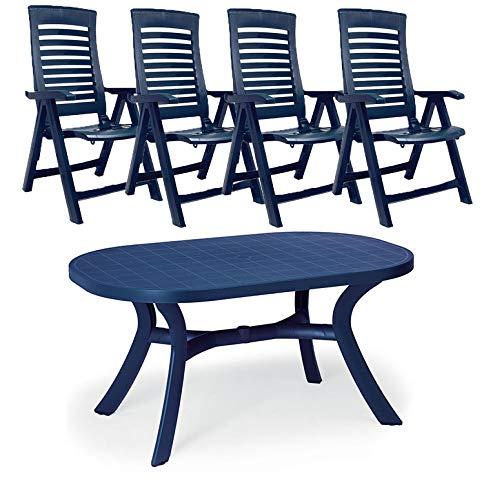 Gartenmöbel-Set 4X Klappsessel + Tisch oval 145x95x72 cm in blau Alicante Sitzgruppe Kunststoff verstellbare Hochlehner wetterbestädnig robust