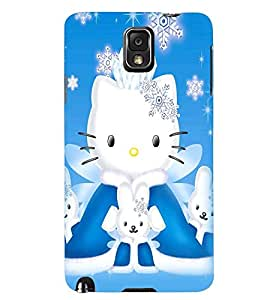 Printvisa Kitties With Blue And Black Background. Back Case Cover for Samsung Galaxy Note 3 N9000::Samsung Galaxy Note 3 N9002::Samsung Galaxy Note 3 N9005 LTE