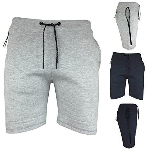Tokyo Lee Mens Boys Tech Fleece Style Zip Pocket Leg Running Jogger Lounge Sweat Shorts (S-XL)