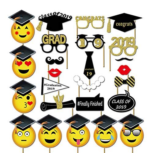 Amosfun Abschlussfeier Foto Requisiten Abschlussfeier Stand Requisiten 2019 Abschlussfeier Dekorationen Gesichtsmuster Bachelor Cap Schießen Requisiten