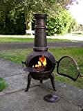 (Free Cover) Large Oxford 120cm Bronze Cast Iron/Steel Mix Chiminea Chimenea with Swing Out Grill BBQ