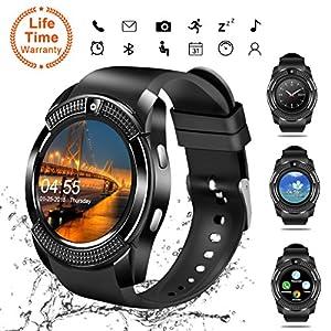 Android Smartwatch Bluetooth,Impermeable Reloj Inteligente con Cámara,Bluetooth Tactil Telefono Smart Watch Sport Fitness Tracker Smartwatches Pulsera Inteligente para Android IOS iPhone Samsung Sony