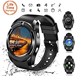 Smart Watch,Bluetooth Smartwatch Touch Screen Wrist Watch with Camera/SIM Card,Waterproof Phone Smart Watch Sports Fitness Tracker for Android iPhone IOS Phones Samsung Huawei Sony for Kids Women Men