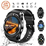 Bluetooth Smartwatch,Smart Watch Uhr Intelligente Armbanduhr Fitness Tracker Armband Sport Uhr mit/Kamera/Schrittz/hler/Schlaftracker/Romte Capture Kompatibel mit Android Smartphone Schwarz