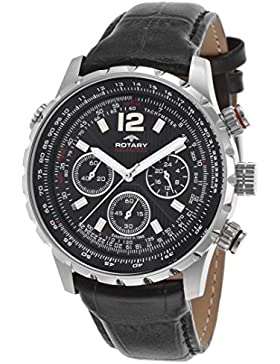 Rotary Damen 43mm Chronograph Schwarz Leder Armband Mineral Glas Uhr GS00175-04