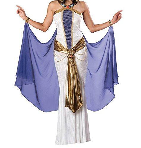 2 Stück Ägyptische Königin Cleopatra Harem Griechische Römische Toga Kostüm Kleid und Aufwendiges Gold Gürtel Größe 36-38