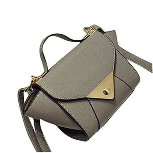 2b2f4dab7aa5a Wenyujh Damen Handtasche Umhängetasche Schultertasche PU Ledertasche  Stylische Flügel auf Seite Grau