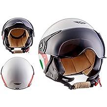 MOTO H44 Italy · Cruiser Casco Demi-Jet Piloto Scooter Chopper Mofa Retro Vintage Vespa Urbano Helmet Moto motocicleta Bobber Biker Urban · ECE certificado · incluyendo parasol · incluyendo bolsa de casco · Blanco · M (57-58cm)
