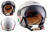 Moto Helmets H44 Italy · Bobber Vespa-Helm Mofa Scooter-Helm Chopper Jet-Helm Cruiser Roller-Helm Pilot Moto Helmetsrrad-Helm Retro Vintage Helmet Biker · ECE zertifiziert · inkl. Sonnenvisier · inkl. Stofftragetasche · Weiß · XL (61-62cm)