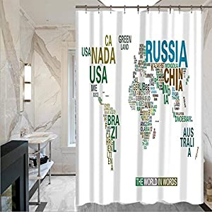 LISABOBO Retro Moldproof Mapa de impresión simple cortinas de ducha cortinas de ducha con cortina de ducha poliéster impermeable(150*180cm , 180*180cm) de secado rápido ( Color : 2 , Tamaño : 150*180 cm )