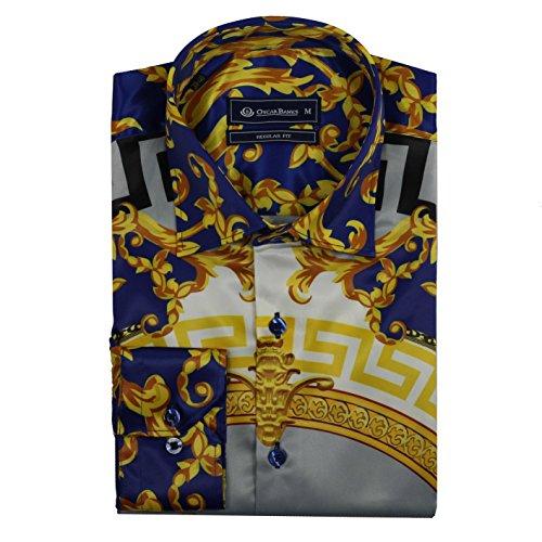 Oscar Banks Mens Retro Designer Blue Gold Mosaic Printed Satin Feel Dress Party Shirt[SHIRT-SL-6427-BLUE-GOLD-M]