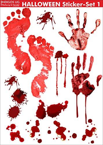 INDIGOS UG Halloween Sticker Aufkleber - realistischer Bluteffekt - gruselig wirkende Aufkleber für zu Hause, am Fenster
