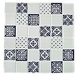 Mosaikfliese Fliesen Mosaik Küche Bad WC Wohnbereich Fliesenspiegel Glas glänzend weiß grau 4mm Neu #K754