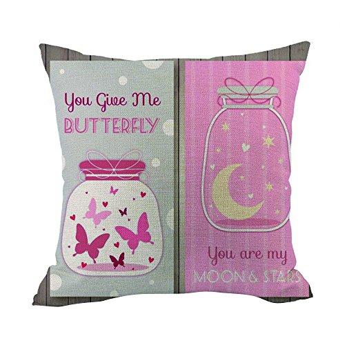 Kissenbezug sunnymi Sofa Bett Kissen Cover Flachs,Liebesgesten von Hand Valentine\'s Day,Bettwäsche Babybett Sessel (B, 45cm*45cm)