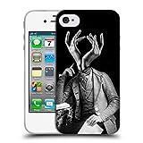 Head Case Designs Offizielle LouiJoverArt Empfindlicher Mann Schwarz Und Weiss Soft Gel Hülle für iPhone 4 / iPhone 4S