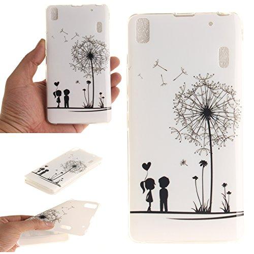 Qiaogle Teléfono Caso - Funda de TPU silicona Carcasa Case Cover para Lenovo K3 Note A7000 / K50-t5 4G LTE (5.5 Pulgadas) - TX04 / Diente de león pareja