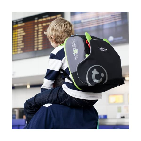 Trunki BoostApak - Travel Backpack & Child Car Booster Seat for Group 2-3 (Green)  QUICKLY TRANSFORMS – Kid's bag to portable booster cushion in seconds (featuring internal hard shell and fold out seatbelt guides) AVOID HIRE CHARGES - On fly drive holidays! Can also be used as dining, cinema or stadium booster to see the action HAND LUGGAGE - 8-litre capacity for packing toys/games/stationary keeping children entertained on the go 9
