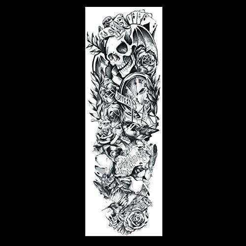 Voller Arm Temporäre Tattoo Aufkleber Für Weibliche Mann Körper Kunst Arm Große Wasserdichte Gefälschte Tattoo Löwe Skelett Rose (2 Pack) QB-037 ()